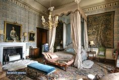 Tapestry Room was used a he new Queen's bedroom in the film Young Victorian, and the four-poster bed was made for the set. 'VR' is embroidered on the headboard.