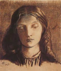 Portrait of Elizabeth Siddal 1855 pen and ink by Rossetti