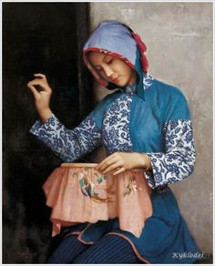 """Girl embroidering"" by Jiang Changyi (Chinese, 1943)"
