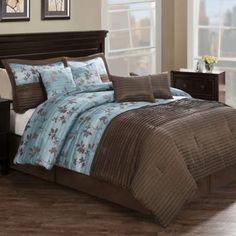 Chocolate Aqua Pleat 8-Piece Comforter Set in Brown/Blue - BedBathandBeyond.com