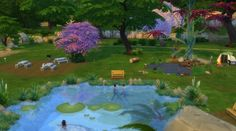 LilyPad Lake Park...Swimming, Fishing, Picnic, Playground. Camp Site.. by mrsyule at Mod The Sims via Sims 4 Updates