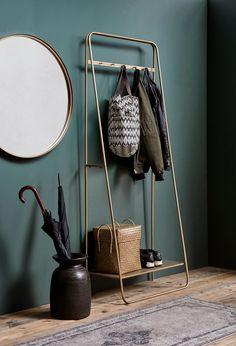 Coat Rail Rack in Brass / Gold Hallway Coat Rack, Hallway Storage, Shoe Storage Entrance Hall, Home Furniture, Furniture Design, Wooden Furniture, Lounge Design, Interior Decorating, Interior Design
