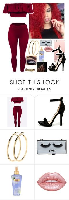 """""""Aint go to school today , its ard , bouta head out somewhere Wid Ariana // Cece"""" by saucinonyou999 ❤ liked on Polyvore featuring Wild Diva, Pieces, POPbeauty, Victoria's Secret and Lime Crime"""