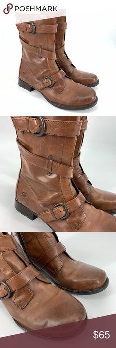 46ec887342d8 Bone Boots Alamid Biker Style Dark Brown Born leather boots
