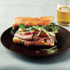 Comfort Food Lunch Recipes | Roast Beef Sandwiches with Watercress Slaw | CookingLight.com