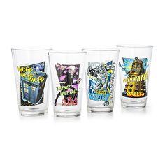 Doctor Who 16 oz Set of 4 Pint Glass Set