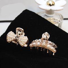 Hair accessory small pearl bow grier mini hairpin bangs hair caught clip
