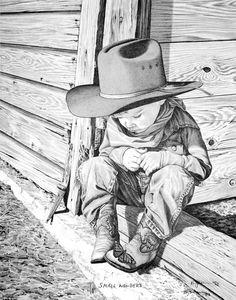 Pencil Drawing Patterns Bernie Brown - Western Pencil Art > Mini Reproductions > Small Wonders - mini reproduction matted and shrink wrapped Pencil Drawing Tutorials, Pencil Art Drawings, Art Drawings Sketches, Art Tutorials, Eye Drawings, Art Illustrations, Drawing Tips, Drawing Ideas, Cowboy Art