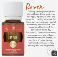 Raven oil is great for any respiratory Support. Raven Essential Oil, Essential Oil Chart, Essential Oil Starter Kit, Essential Oil Diffuser Blends, Essential Oil Uses, Young Living Oils, Young Living Essential Oils, Young Living Raven, Young Living Valor