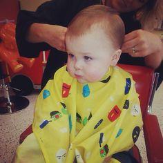 Evan's first haircut March 2014