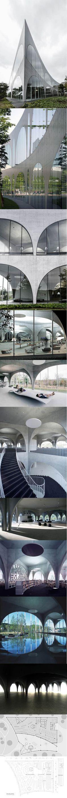 2007 Toyo Ito - Library at Tama Art University / Tokyo Japan / concrete / glass