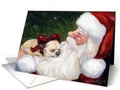 Dogs card: Christmas Chihuahua Santa Greeting Card by Charlotte Yealey