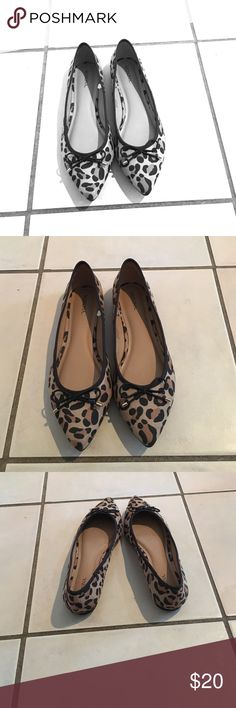 Leopard print flats Timeless and flirty! Leopard print flats with a cute bow accent. Add a little flair to your business casual, or a little class to your jeans! Shoes Flats & Loafers