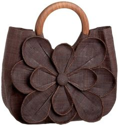 Dark Chocolate goes with everything~ Mar Y Sol Guadeloupe Raffia Flower Tote
