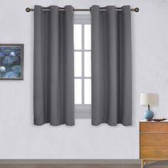 NICETOWN Grey Blackout Curtains for Bedroom Thermal Insulated Grommet Blackout Panel Curtains Panels, x inches, Gray) Rustic Curtains, Kids Curtains, Drapes Curtains, Bedroom Curtains, Sewing Curtains, Kitchen Curtains, Layered Curtains, Patterned Curtains, French Curtains