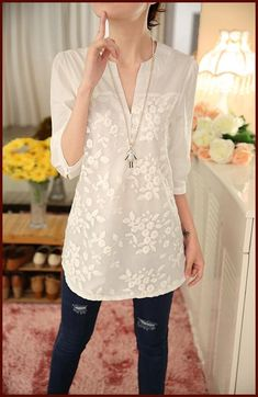 New Summer Korean Women Blouses Flower Print Blouse V-neck Organza Embroidered Shirt White Lace Blouse Tops Plus Size Classy Outfits, Casual Outfits, Cute Fashion, Fashion Outfits, White Lace Blouse, Kurti Designs Party Wear, Pinterest Fashion, Relaxed Outfit, Tunic Shirt