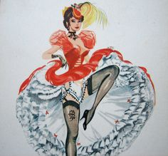 Very charming French postcard of a dancing girl doing the can-can.  Artist: Alice.