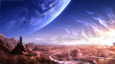 Fantasy Nature Landscape (id: Fantasy Images, Fantasy Women, Sci Fi Fantasy, Final Fantasy, Planets In The Sky, Sky Watch, View Wallpaper, New Backgrounds, World Images