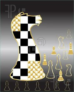 knight silawets with back grounds chess paintings | ... of chess pieces in an abstract form on a black and gray background