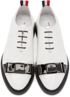 Thom Browne - White Patent Leather Bow Derbys