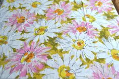 Vintage Bed Sheet  Mod Pink and Yellow Flowers