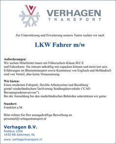 Stellenbezeichnung:  LKW Fahrer m/w, FS-Kl. B/C/E    Arbeitsort:  1430 BB, Aalsmeer    Niederlande    Weitere Informationen unter #stellencompass #Arbeit und:  https://www.stellencompass.de/anzeige/139585/
