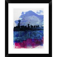 "Naxart 'Vancouver Skyline' Framed Watercolor Painting Print Size: 22"" H x 18"" W x 1.5"" D"