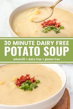 gluten free dairy free This 30 Minute Dairy Free Potato Soup is so creamy and easy to make! Youll be surprised its dairy free, gluten free, and compliant! Soup Recipes, Vegetarian Recipes, Cooking Recipes, Healthy Recipes, Healthy Breakfasts, Chili Recipes, Dinner Recipes, Whole30, Gastronomia