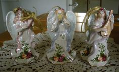 6 Royal Albert Old Country Roses Musical Angel Ornaments in Boxes Beautiful
