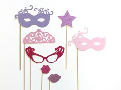 Photo Booth Prop Set - Glittered Princess Party. Girl Birthday