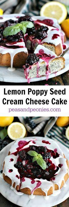 Cream Cheese Lemon Poppy Seed Cake - Peas and Peonies