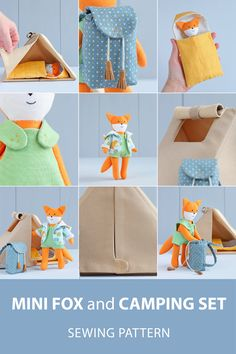 Mini fox doll with clothes + Camping set (camping tent, sleeping bag, backpack) for mini doll sewing patterns. Felt Patterns, Bag Patterns To Sew, Sewing Patterns, Diy Gifts For Kids, Crafts For Kids To Make, Roll Up Curtains, Camping Set, Fabric Animals, Fabric Toys