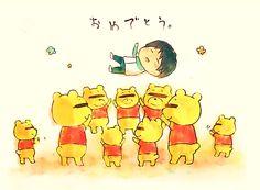 Yuzuru Hanyu and Poohs this is adorable