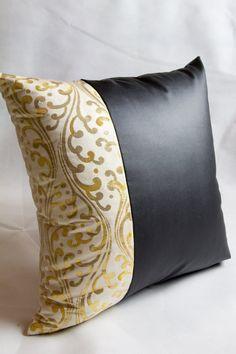 Kimono  Pillow Cover  Golden Swirls Japanese Silk by KimonoTango