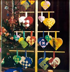 wooden tree with paper hearts