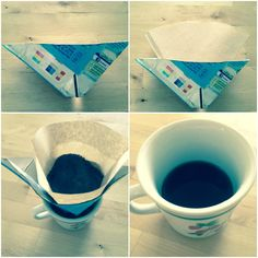 Coffee pot broken? Cut out a triangle from a milk carton and cut out the top. Apply filter, coffee and enjoy!