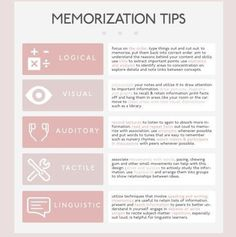 Educational infographic : UNIVERCITYBLR: memorization tips for different types of learners / [click High School Hacks, Life Hacks For School, School Study Tips, College Hacks, College Study Tips, College School, Study Tips For Exams, Law School, Studying For Exams