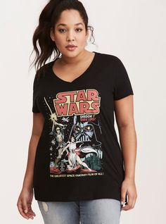 """Star Wars nerds will be asking where you got this collectible. The black v-neck style looks like you scored it at a cosplay event with a vintage-inspired """"Star Wars"""" poster bringing the major stylish force.<div><br></div><div><b>Model is 5'10"""", size 1</b></div><div><div><ul><li style=""""list-style-position: inside !important; list-style-type: disc !important"""">Size 1 mea..."""