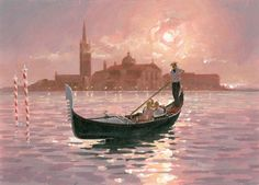 Alec Macdonald - venice landsapce and gondola. Venice Boat, Venice Canals, Landscape Art, Landscape Paintings, Painting Corner, Boat Drawing, Venice Painting, Italy Art, Watercolor Pictures