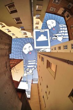 """French artist Thomas Lamadieu's awesome """"Sky Art"""" illustrations—he took photographs of the pieces of sky between buildings and filled them up with quirky drawings Art And Illustration, Art Illustrations, City Drawing, Drawing Sketches, Drawings, Ciel Art, Art Fantaisiste, Graffiti, Street Art"""