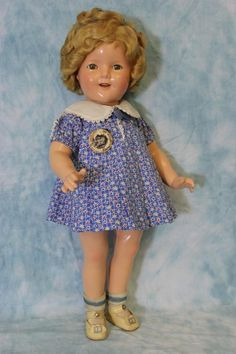 "Beautiful c.1935 18"" Early Ideal Shirley Temple Doll Tagged Dress, Button, & Box"