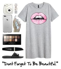 """""""Don't Forget To Be Beautiful"""" by kinakream ❤ liked on Polyvore featuring Sephora Collection, NIKE, Maybelline, Max Factor and Fujifilm"""