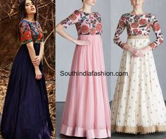 Floral Embroidered Gowns by Mrunalini Rao – South India Fashion Party Wear Long Gowns, Party Wear Indian Dresses, Indian Gowns Dresses, Simple Gown Design, Long Dress Design, Simple Designs, Indian Long Dress, Dress Indian Style, Indian Wear