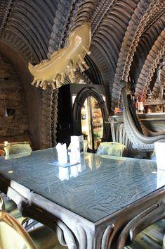 #Giger Bar #HR Giger #Giger Art #Alien Giger Abstract Sculpture, Bronze Sculpture, Wood Sculpture, Metal Sculptures, Giger Bar, Light Installation, Art Installations, Hr Giger Art, Bar Interior
