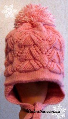 шапка спицами, шапка для девочки, шапка с описанием