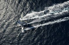 The world's fastest sailboat is about to set sail on a voyage to claim the transpacific speed record for a wind-powered vessel. The Hydroptere sailboat Catamaran, Utility Boat, Runabout Boat, Full Sail, Cabin Cruiser, World Images, Super Yachts, Speed Boats, Small Boats