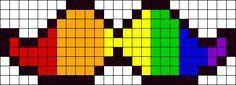 Rainbow Moustache Perler Bead Pattern / Bead Sprite