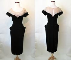 RESERVED Chic 1950's Peggy Hunt Designer Black by wearitagain