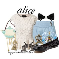 Designer Clothes, Shoes & Bags for Women Disney Dress Up, Disney Outfits, Girly Outfits, Fashion Outfits, Movie Inspired Outfits, Disney Inspired Fashion, Disney Fashion, Alice Costume, Alice Cosplay