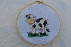 finished  cross stitch hoop, cross stitched cow, cross stitch hoop